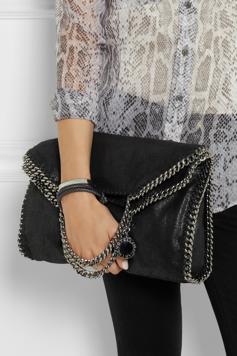 Lyst - Stella McCartney The Falabella Faux Brushed-Leather Shoulder ... 75f969dda4