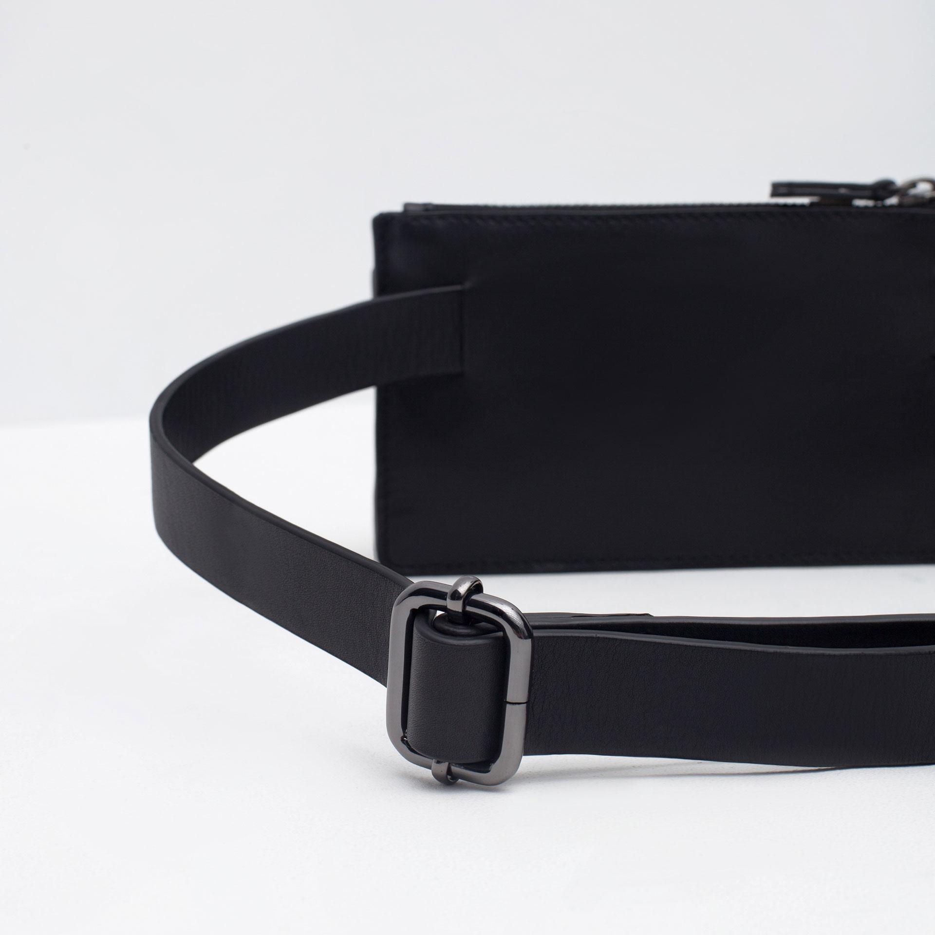 zara mini leather belt bag in black for lyst