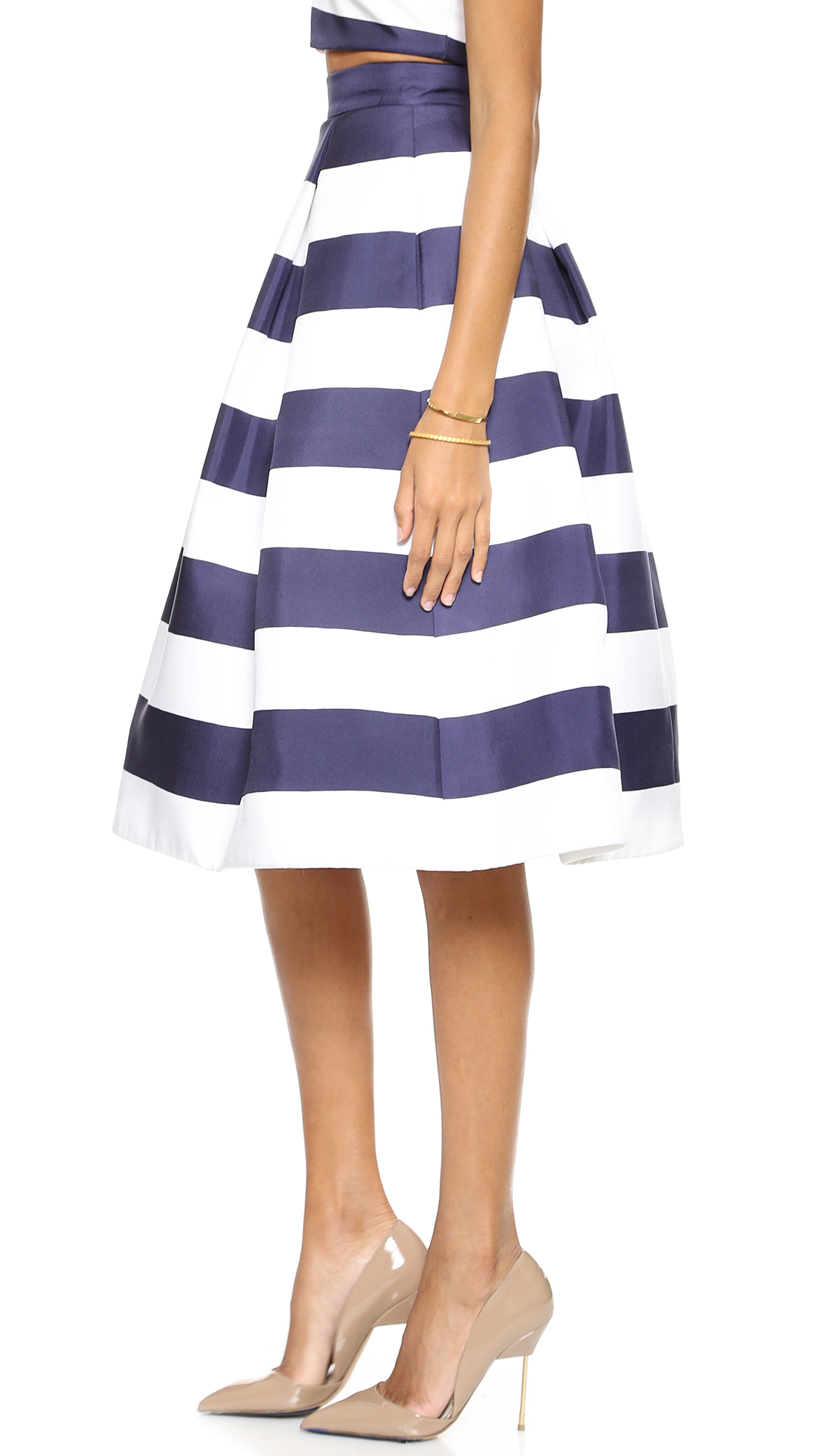 Nicholas Navy Stripe Silk Ball Skirt Navy White Stripe in Blue | Lyst