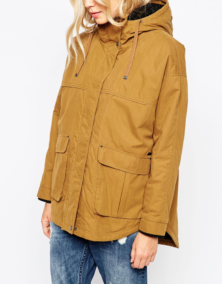 Parka london Petra Hooded Coat In Mustard With Dipped Hem in ...