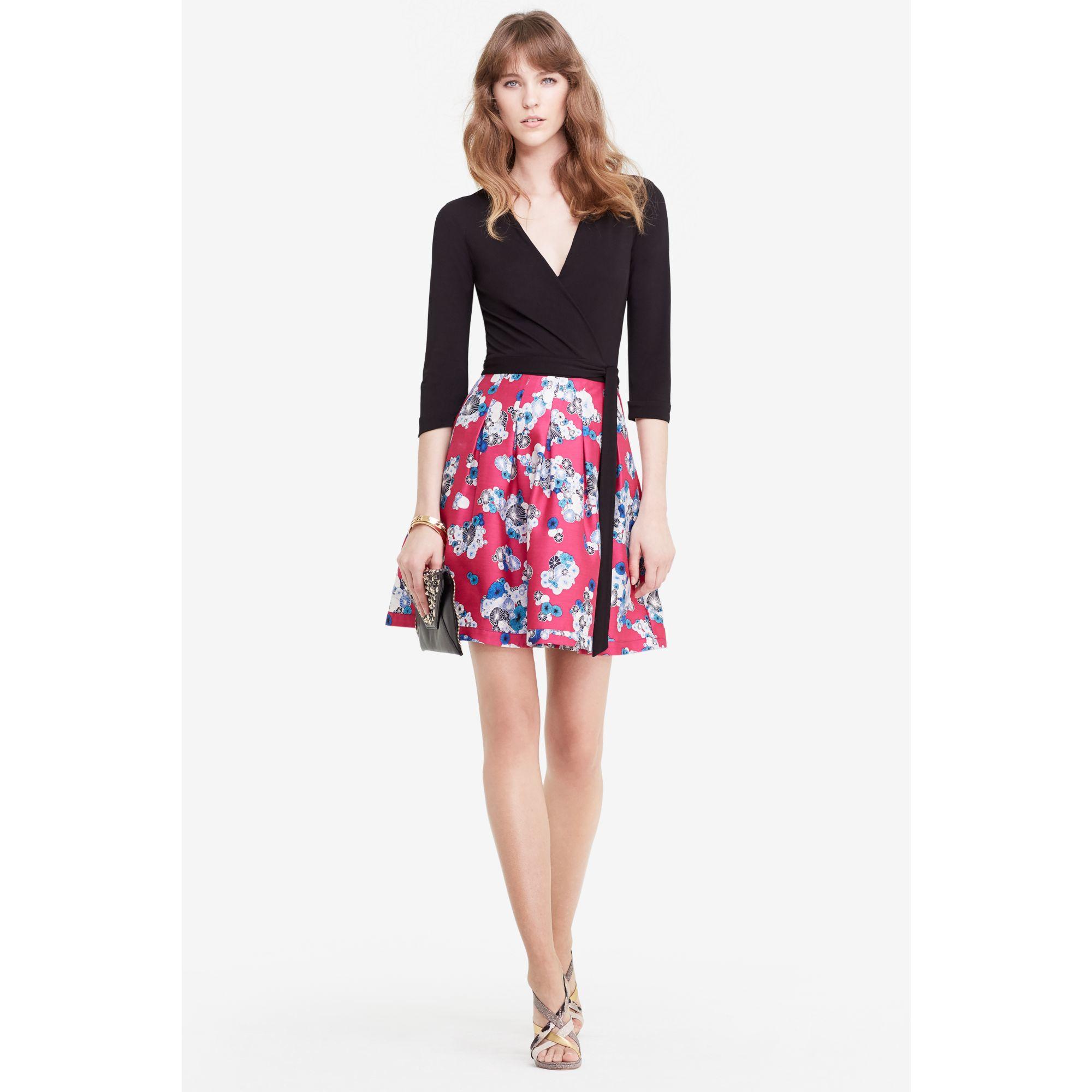 45280a9622800c Diane von Furstenberg Dvf Jewel Silk Combo Wrap Dress - Lyst