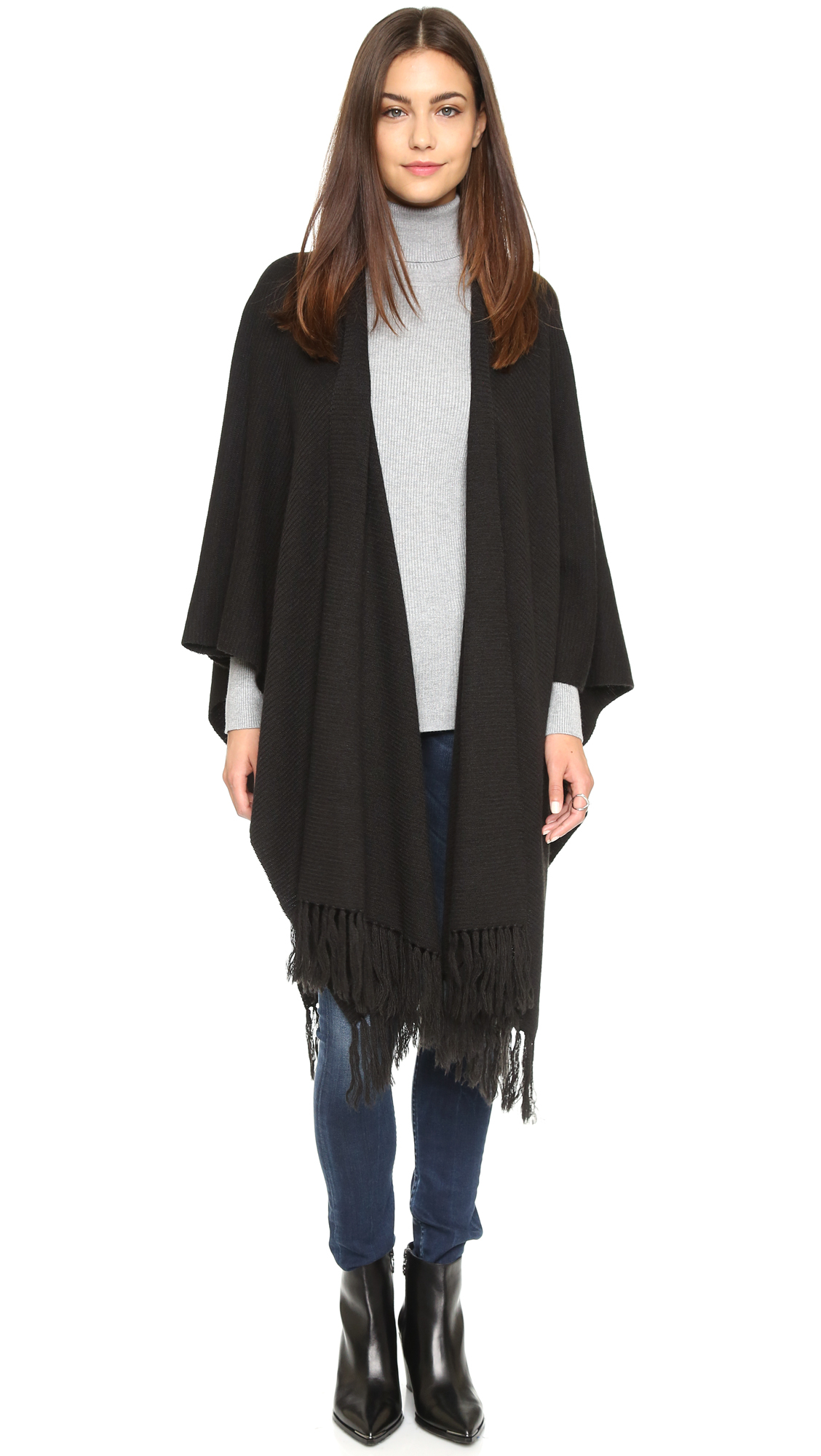 Lyst Dkny Pure Open Front Fringe Poncho In Black