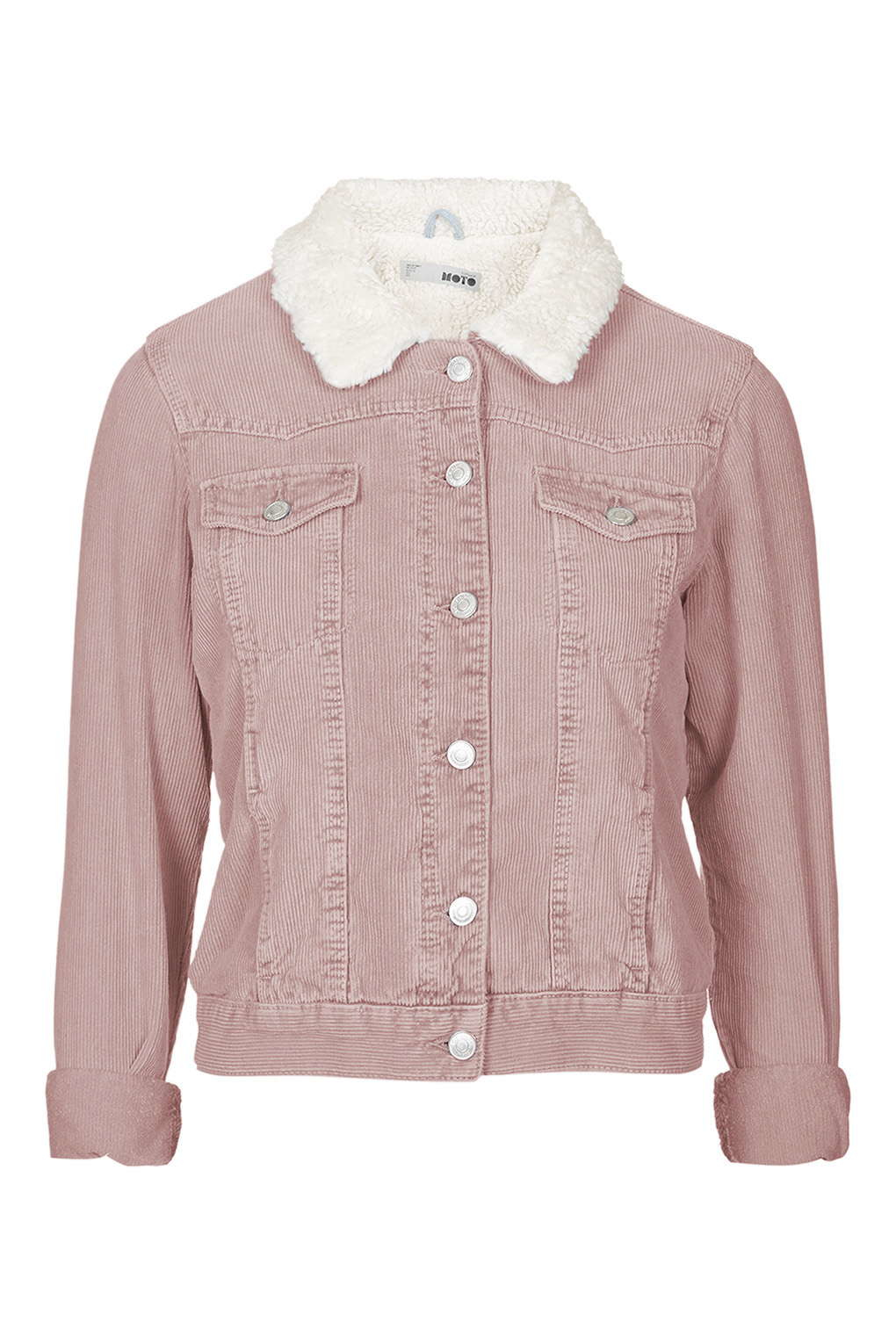 Topshop Moto Pink Cord Borg Western Jacket in Pink | Lyst