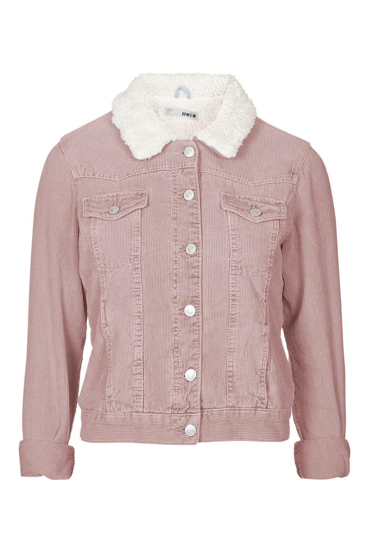 Topshop Moto Pink Cord Borg Western Jacket in Pink