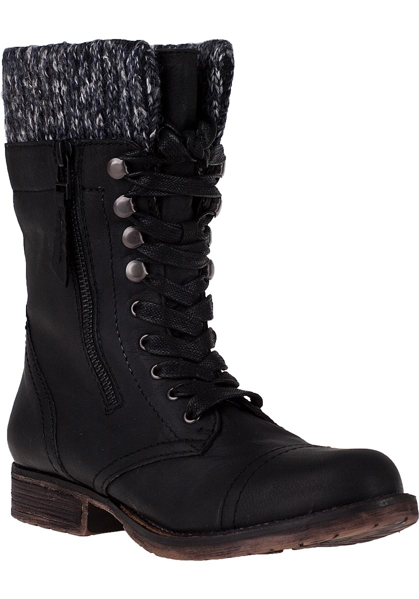 steve madden jaax lace up boot black leather in black lyst