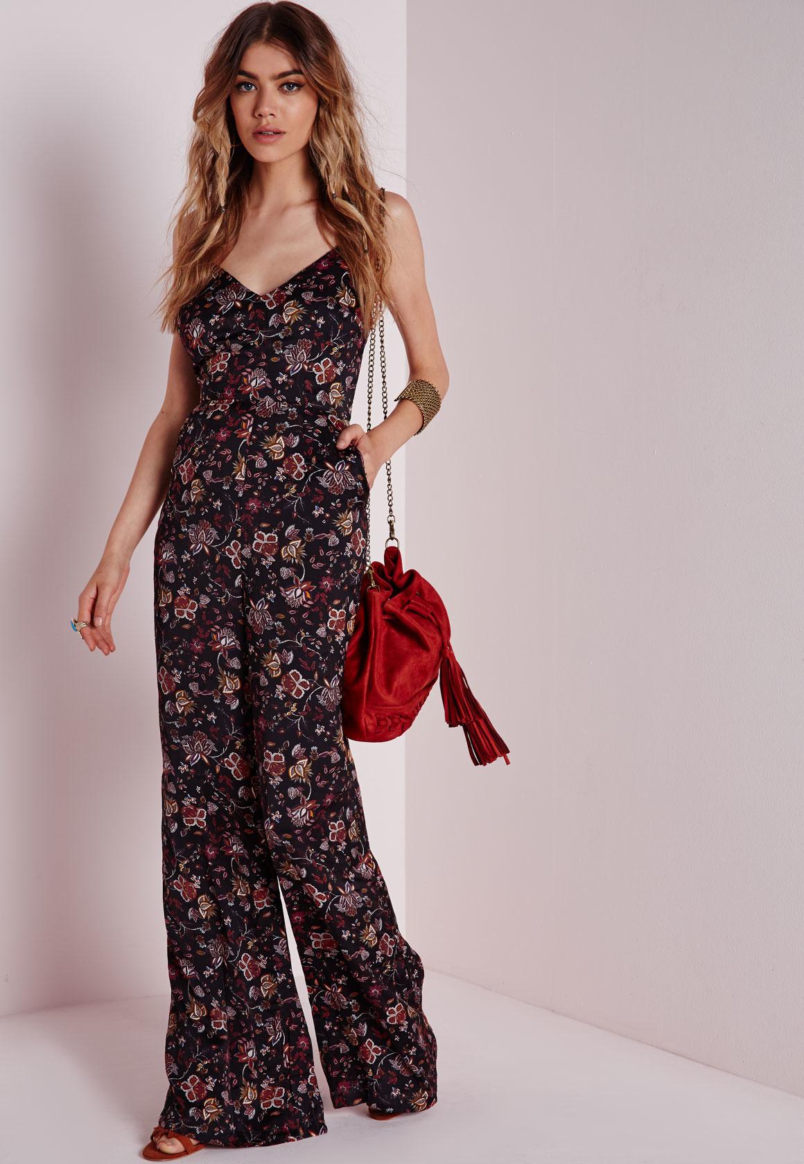 b430d8204e6a Lyst - Missguided Strappy Floral Wide Leg Jumpsuit Black