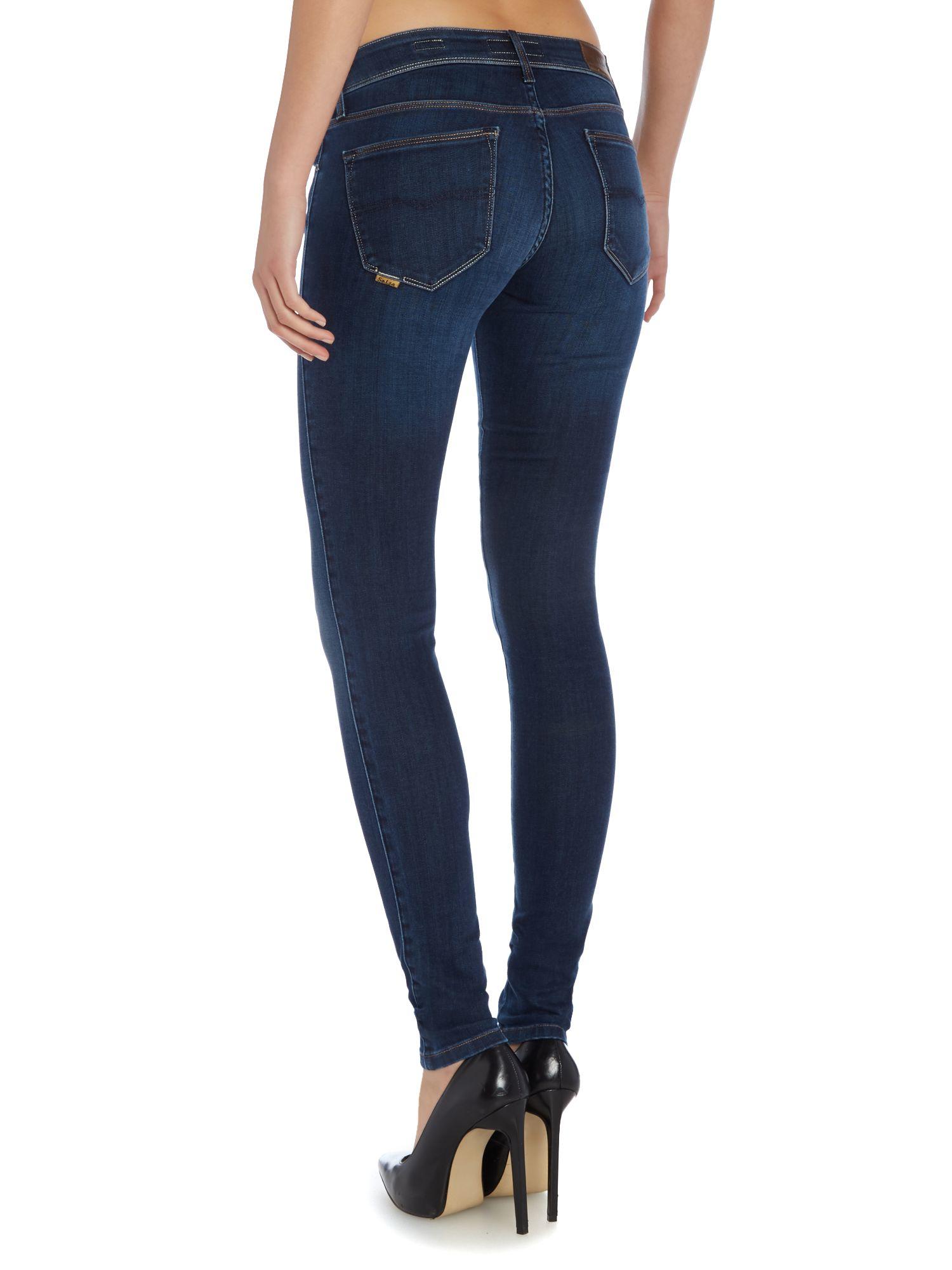 salsa colette comfort skinny jeans in blue denim dark wash lyst. Black Bedroom Furniture Sets. Home Design Ideas