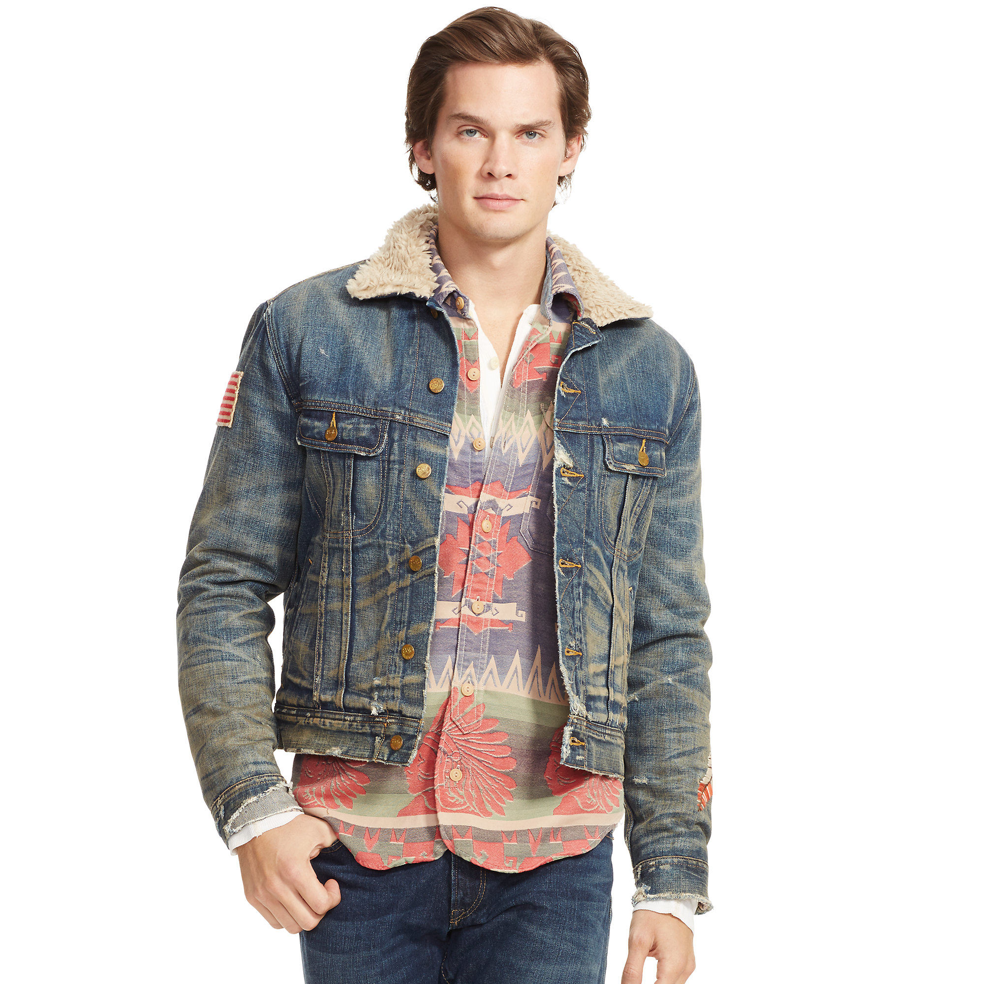 Lyst - Polo Ralph Lauren Faux-shearling Denim Jacket in Blue for Men