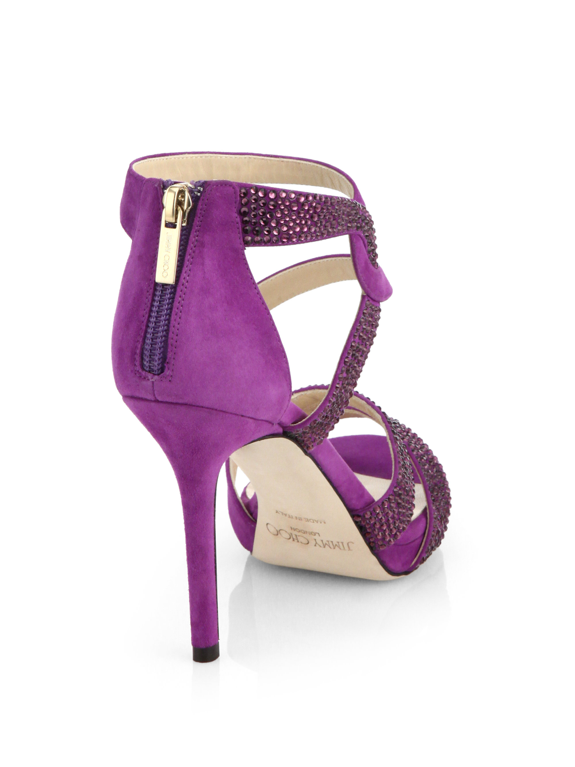 0e9599c719f88e Lyst - Jimmy Choo Tomar Crystal-coated Suede Sandals in Purple