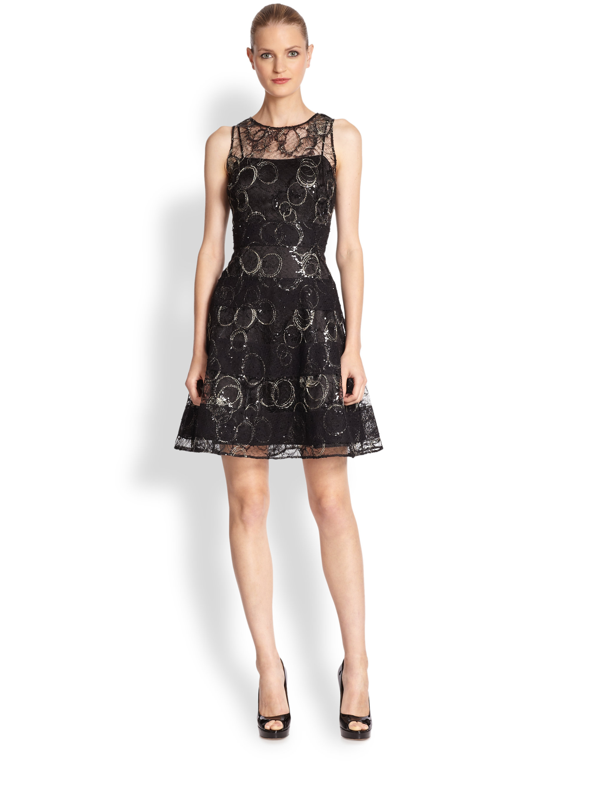 Kay Unger Embroidered Sheer Lace Dress In Black Gold