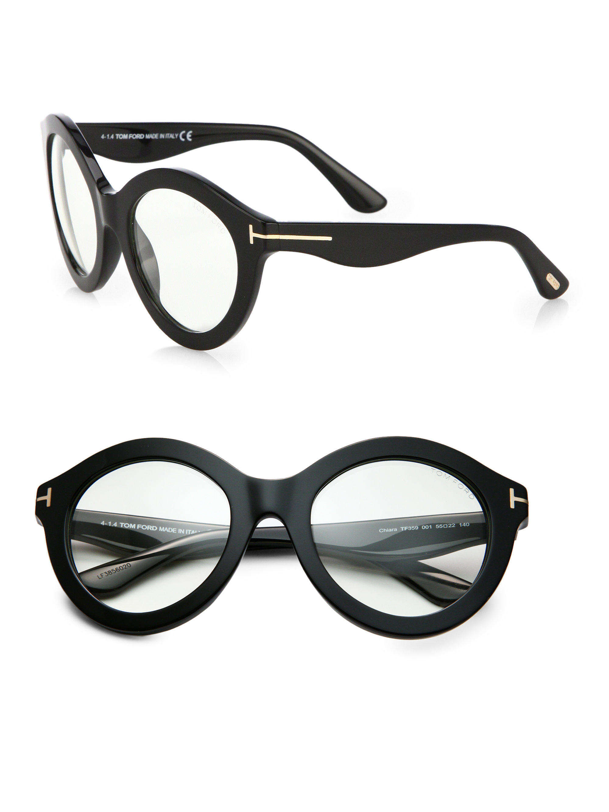 b5519df54cf6 Lyst - Tom Ford Exaggerated 55mm Round Optical Glasses in Black