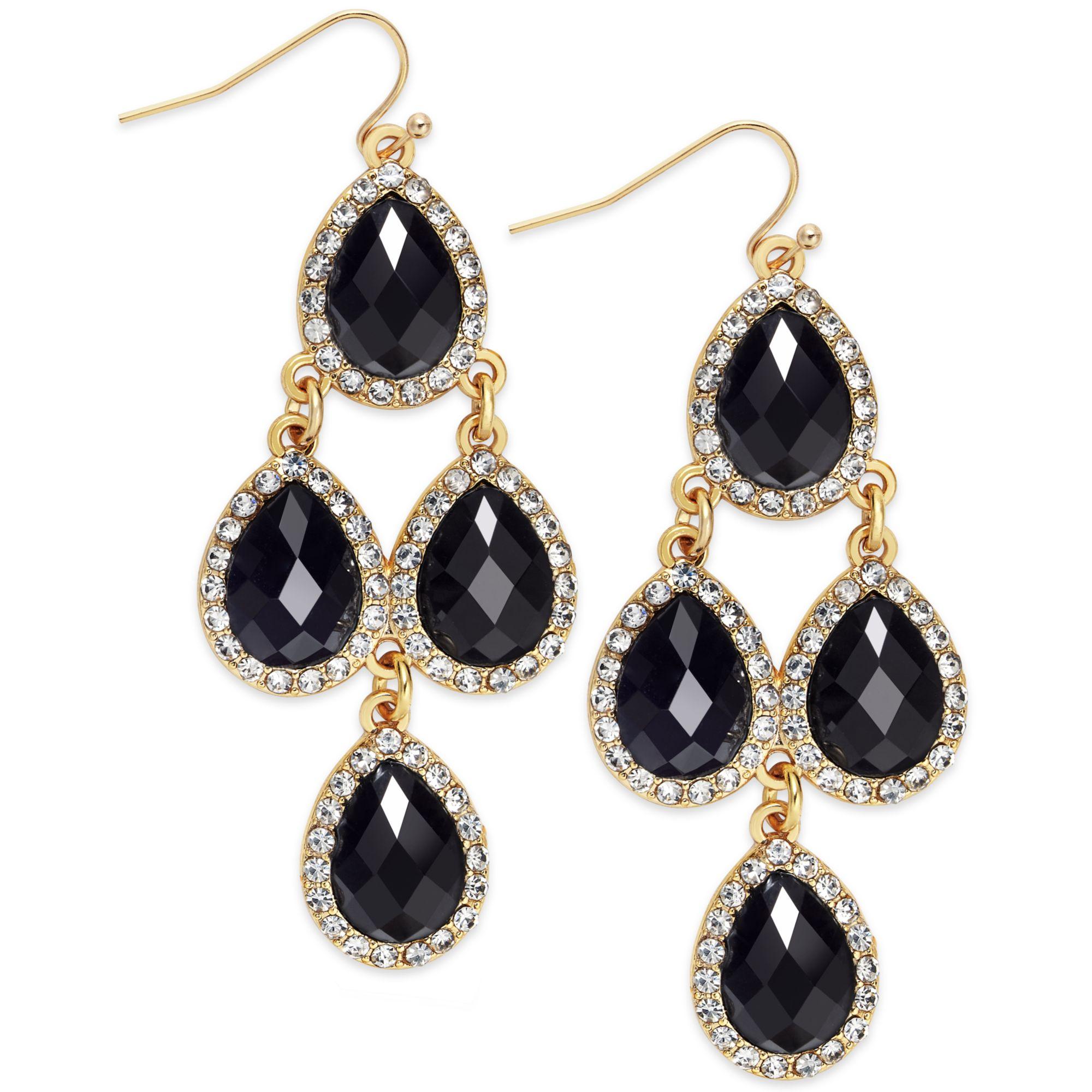 Inc International Concepts 14k Goldplated Black Pave Teardrop; 14k  Tricolor Gold Chandelier Earrings Ejer22816; 14k Gold