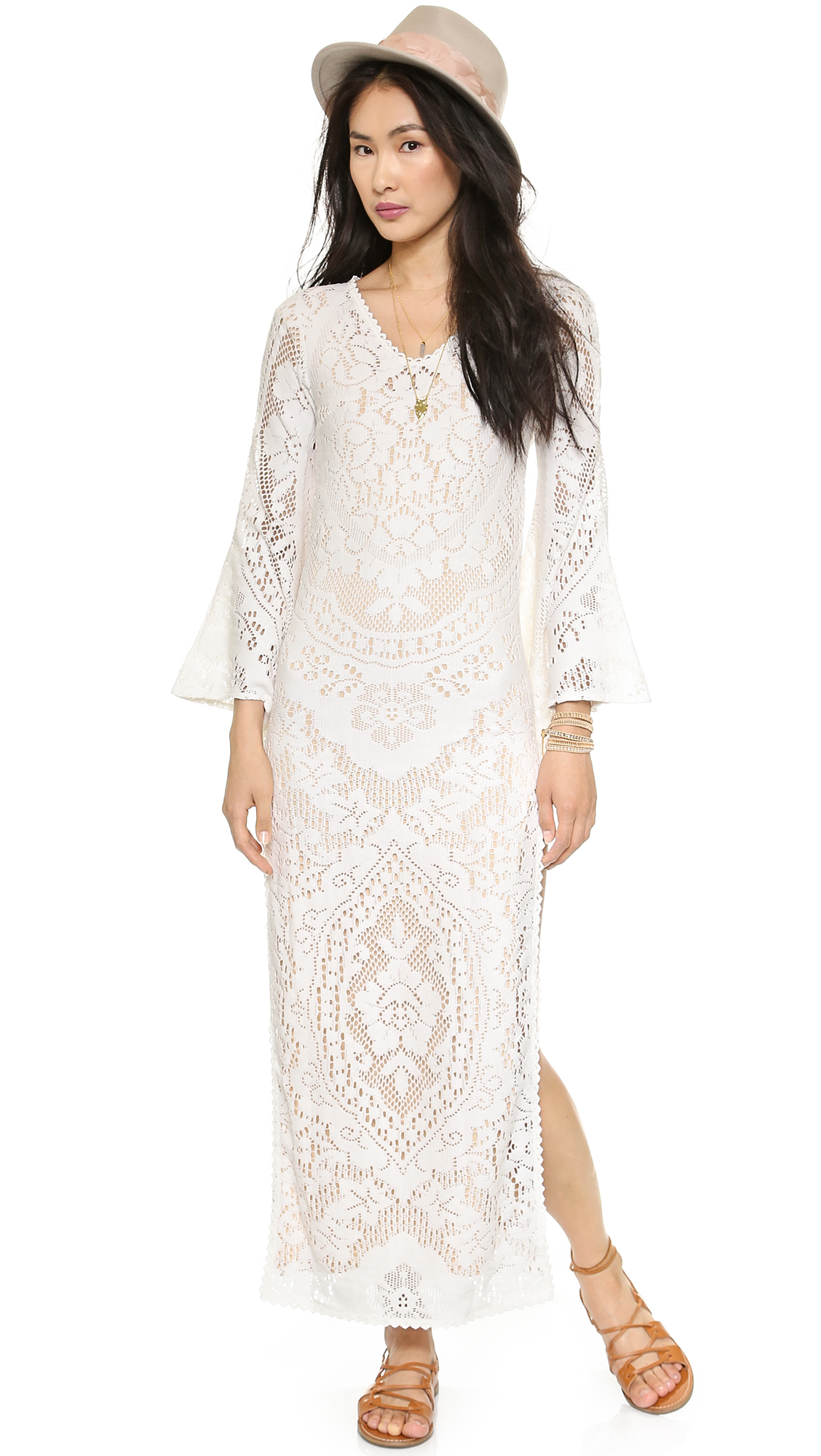 Spell White Dove Vintage Lace Maxi Dress - White in White ...