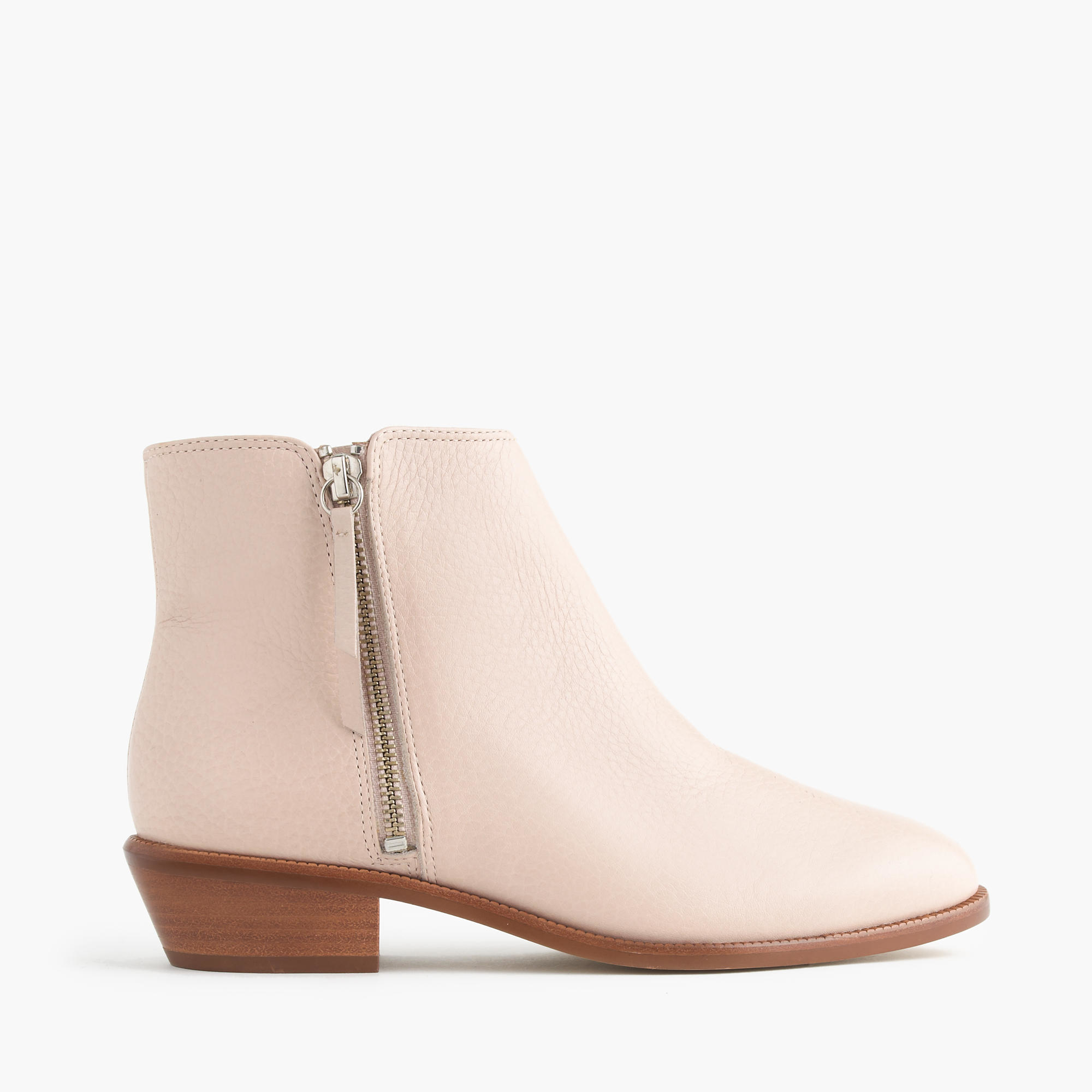 j crew frankie tumbled leather ankle boots in pink desert