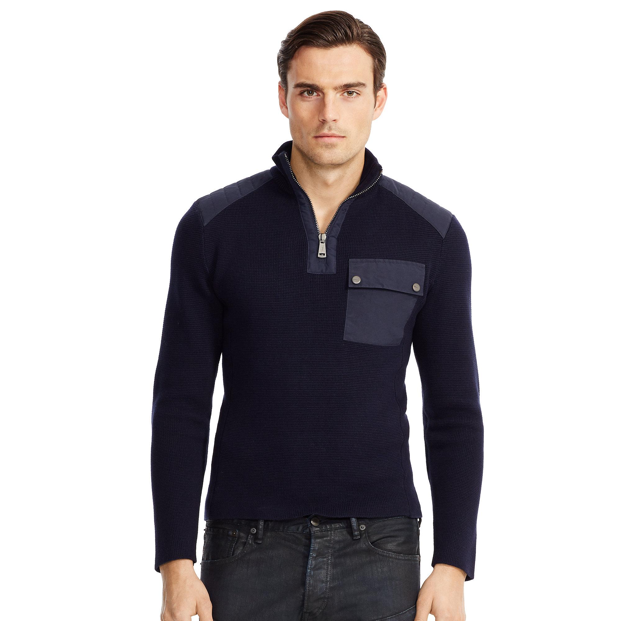 Ralph lauren Moto Cotton Half-Zip Sweater in Blue for Men | Lyst
