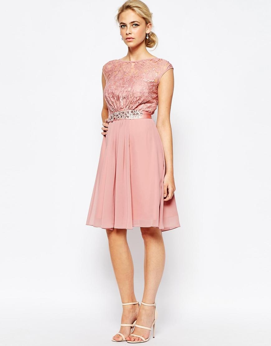 Coast Lori Lee Lace Short Dress In Pink Lyst