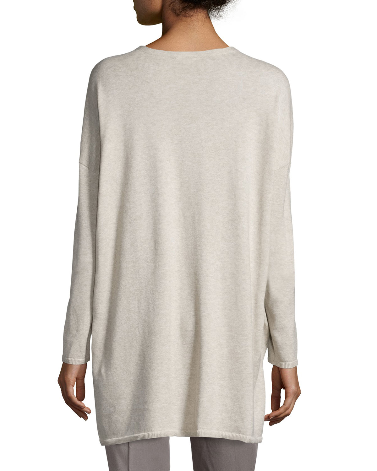 Eileen fisher V-neck Organic Cotton Tunic With Pockets in White | Lyst