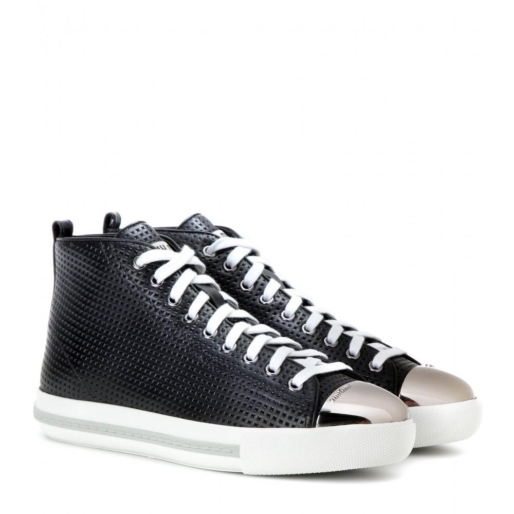 High Miu Leather Black Top Sneakers In Lyst E0qzB0