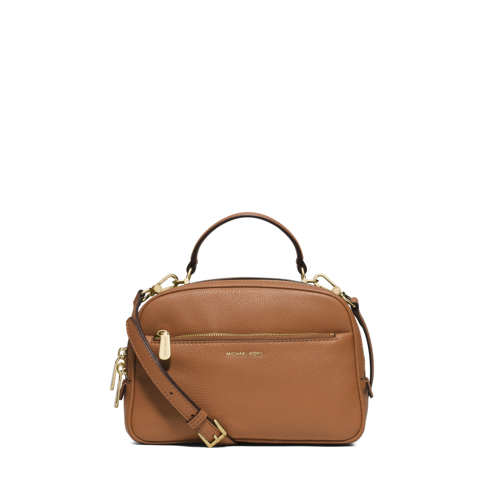 be0ca025e0ac ... Michael kors Luka Small Leather Satchel in Brown Lyst ...