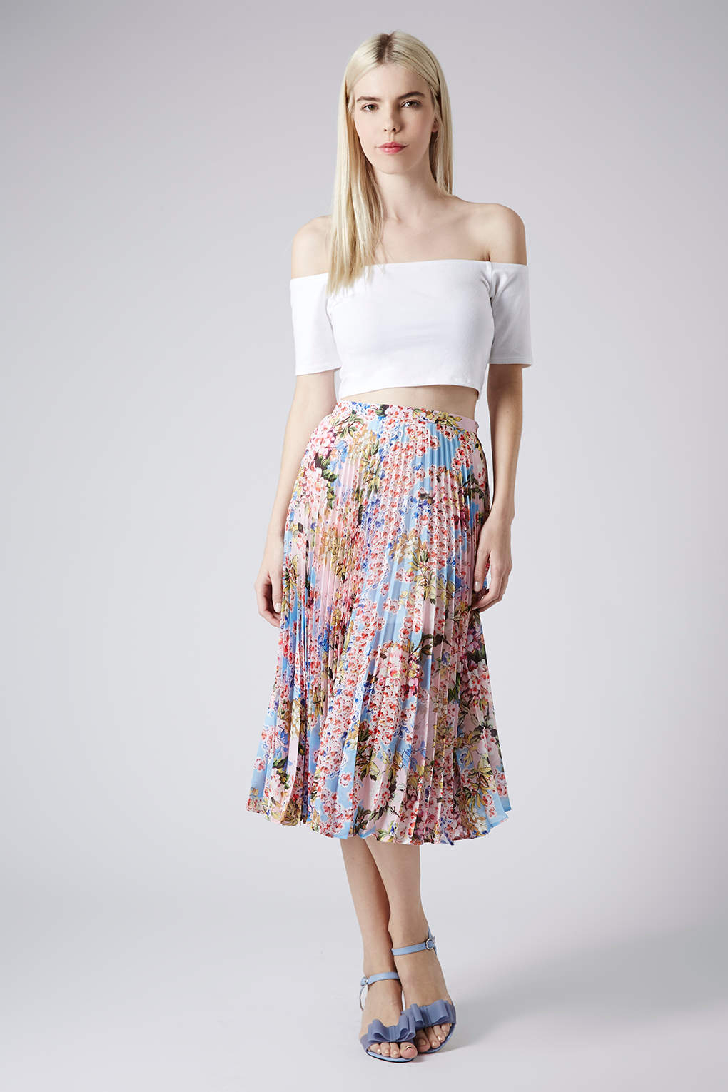 Topshop Floral Pleat Midi Skirt | Lyst