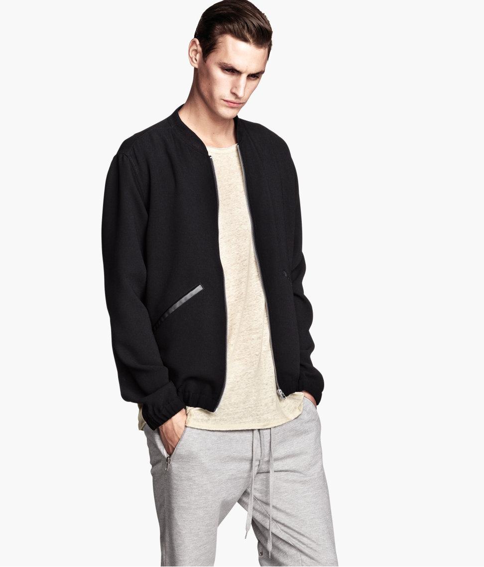 H&m Bomber Jacket in Black for Men | Lyst