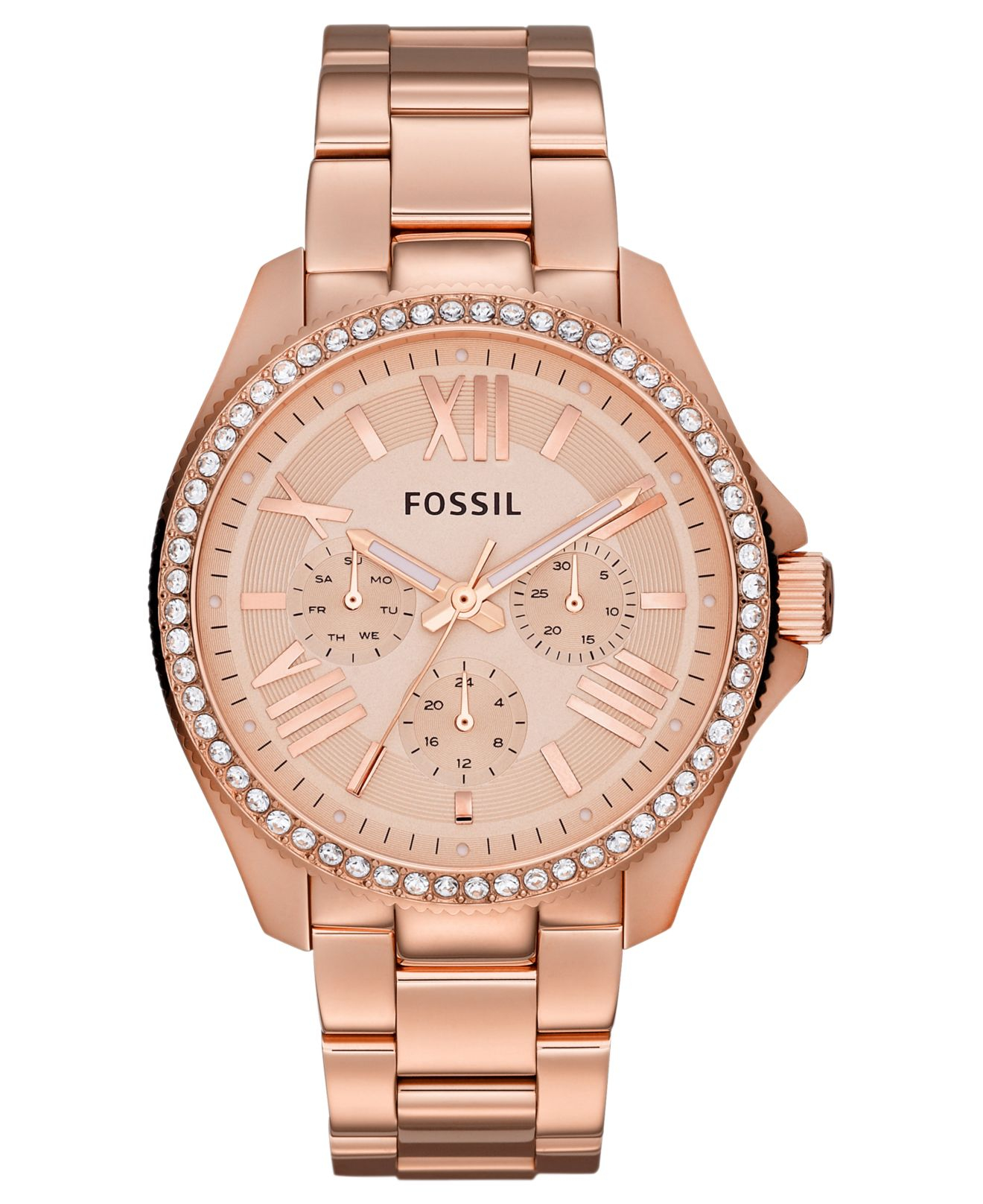 fossil women 39 s cecile rose gold tone stainless steel. Black Bedroom Furniture Sets. Home Design Ideas