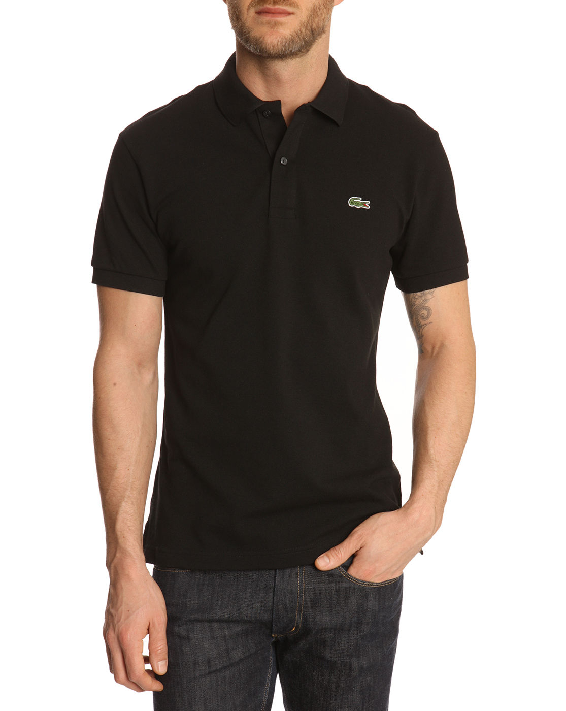 Lacoste black slim fit polo shirt in black for men lyst for Mens slim polo shirts