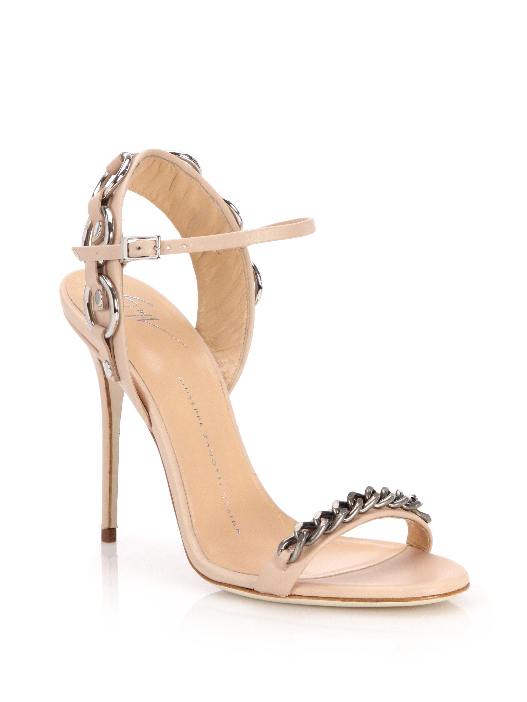 45fd52f54c7 Lyst - Giuseppe Zanotti Metal Chain-trim Sandals in Natural