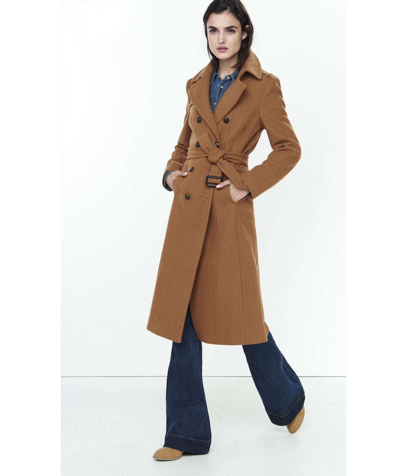 Express Brown Wool Blend Long Trench Coat in Brown | Lyst