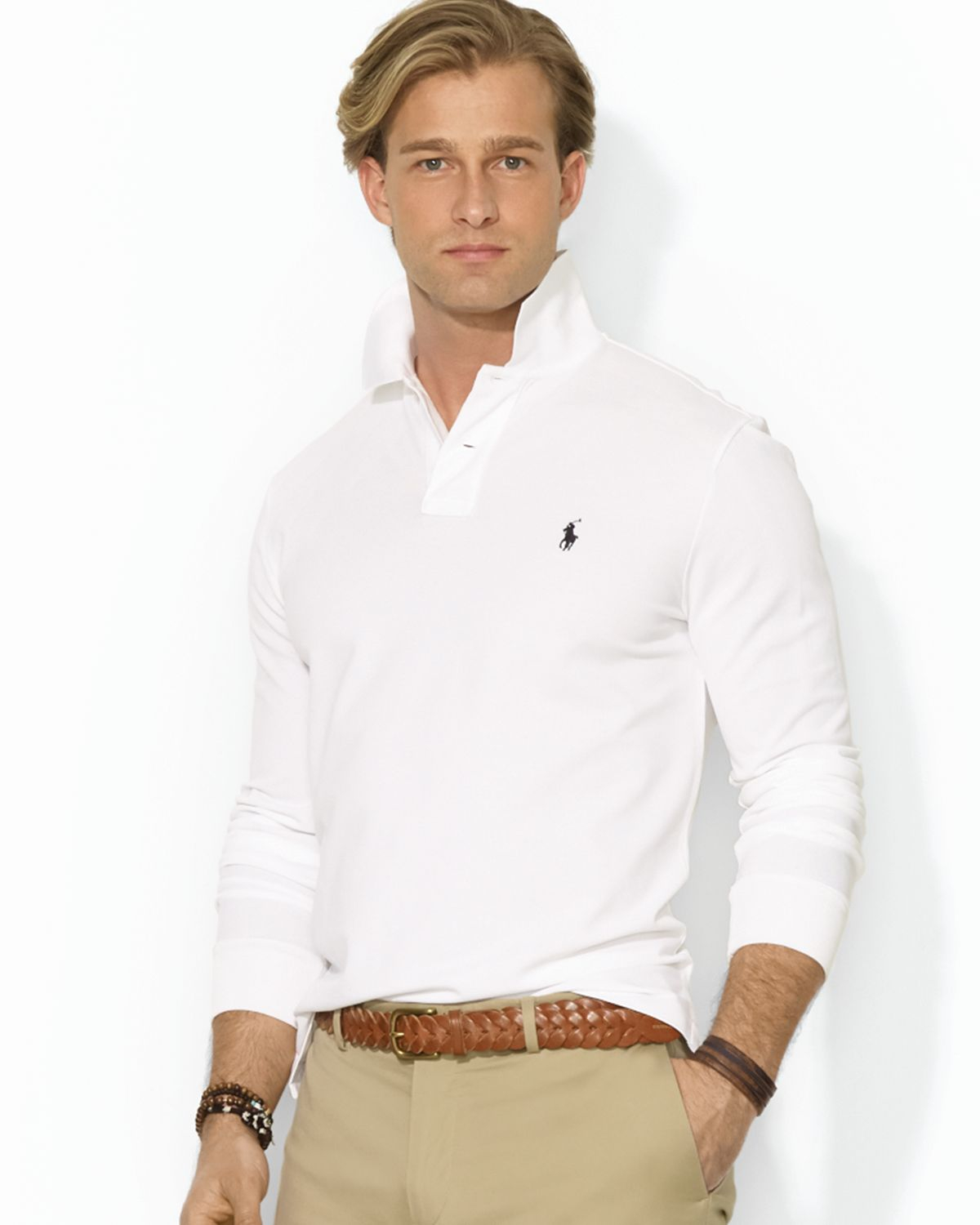 Lyst ralph lauren polo custom longsleeved stretchmesh for Slim fit collared shirts