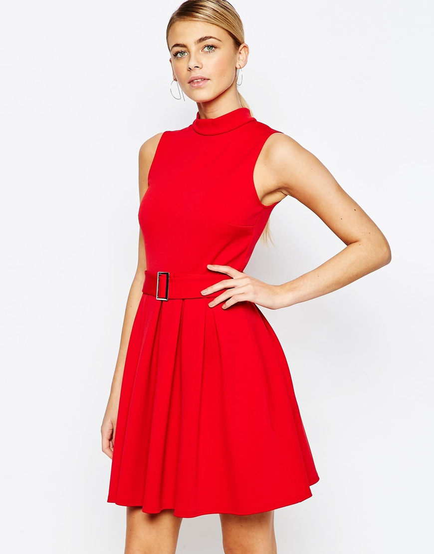 high neck mini dress with belt in lyst