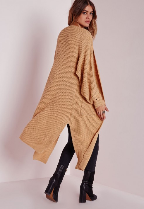Missguided Oversized Cardigan Camel in Natural | Lyst