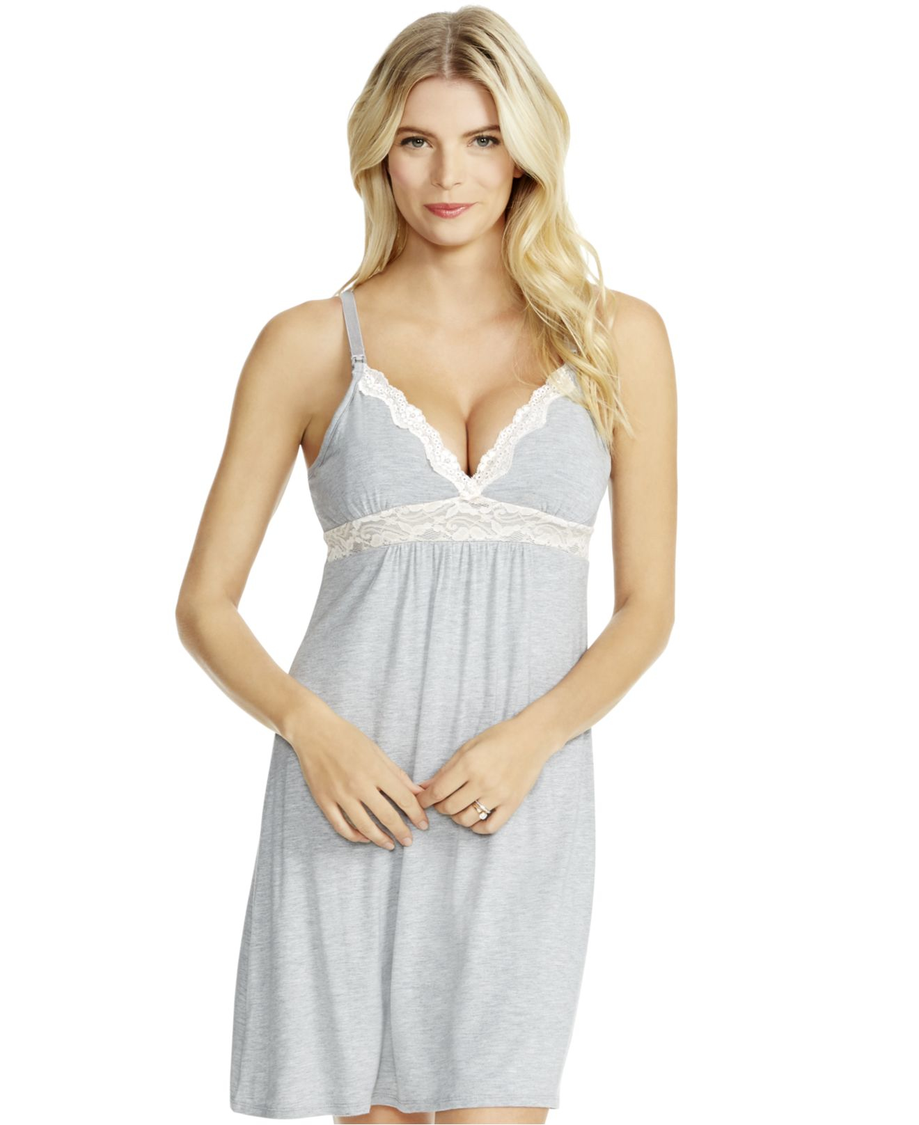 17e471142f4d7 Jessica Simpson Nursing Lace Nightgown in Gray - Lyst