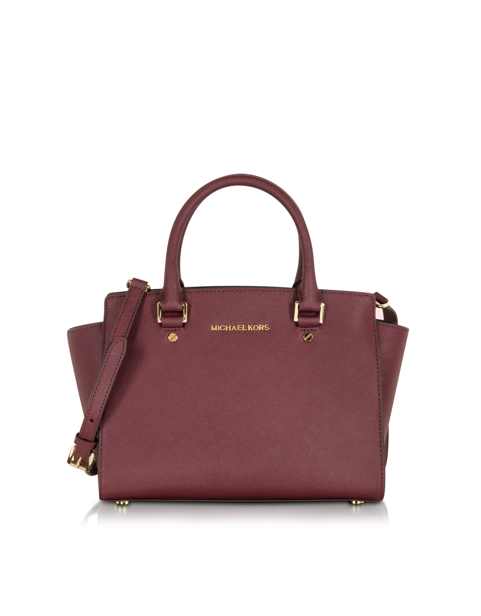 saffiano leder michael kors michael kors selma saffiano leather medium satchel in red michael. Black Bedroom Furniture Sets. Home Design Ideas