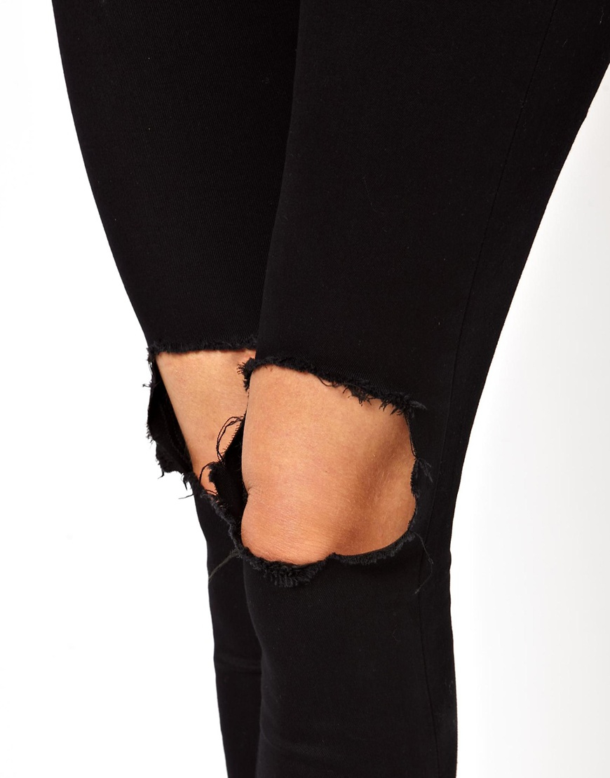 40ae80691b6 ASOS Ridley High Waist Ultra Skinny Jeans With Busted Knee in Black ...