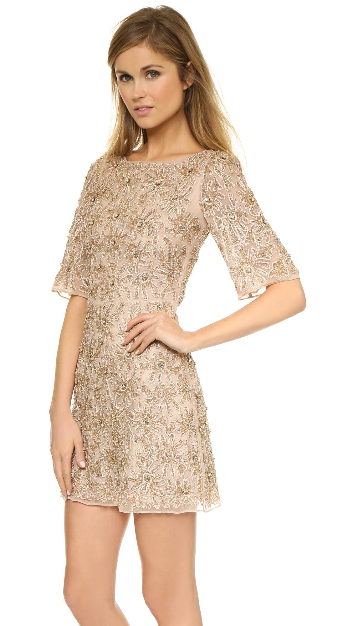 4e6b271816 Alice + Olivia Drina Embellished Dress - Nude/Rose Gold in Natural ...