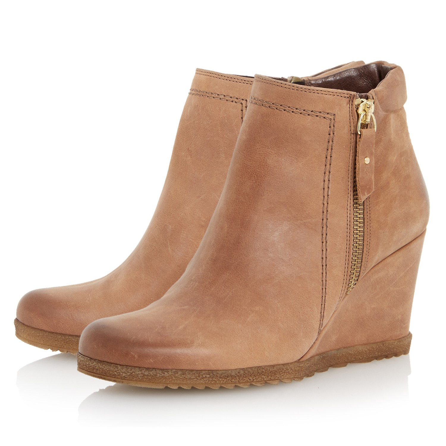 dune pacino side zip wedge ankle boots in brown lyst