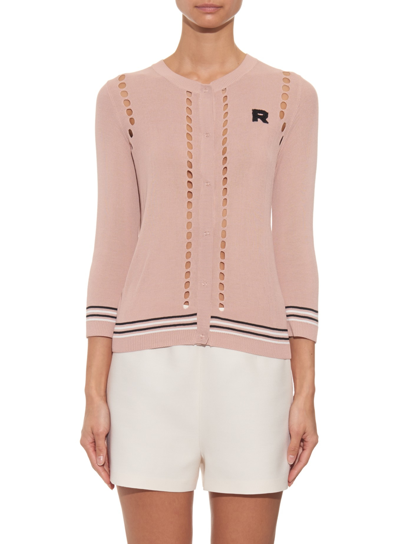 Rochas Logo-patch Lightweight-knit Cardigan in Pink | Lyst