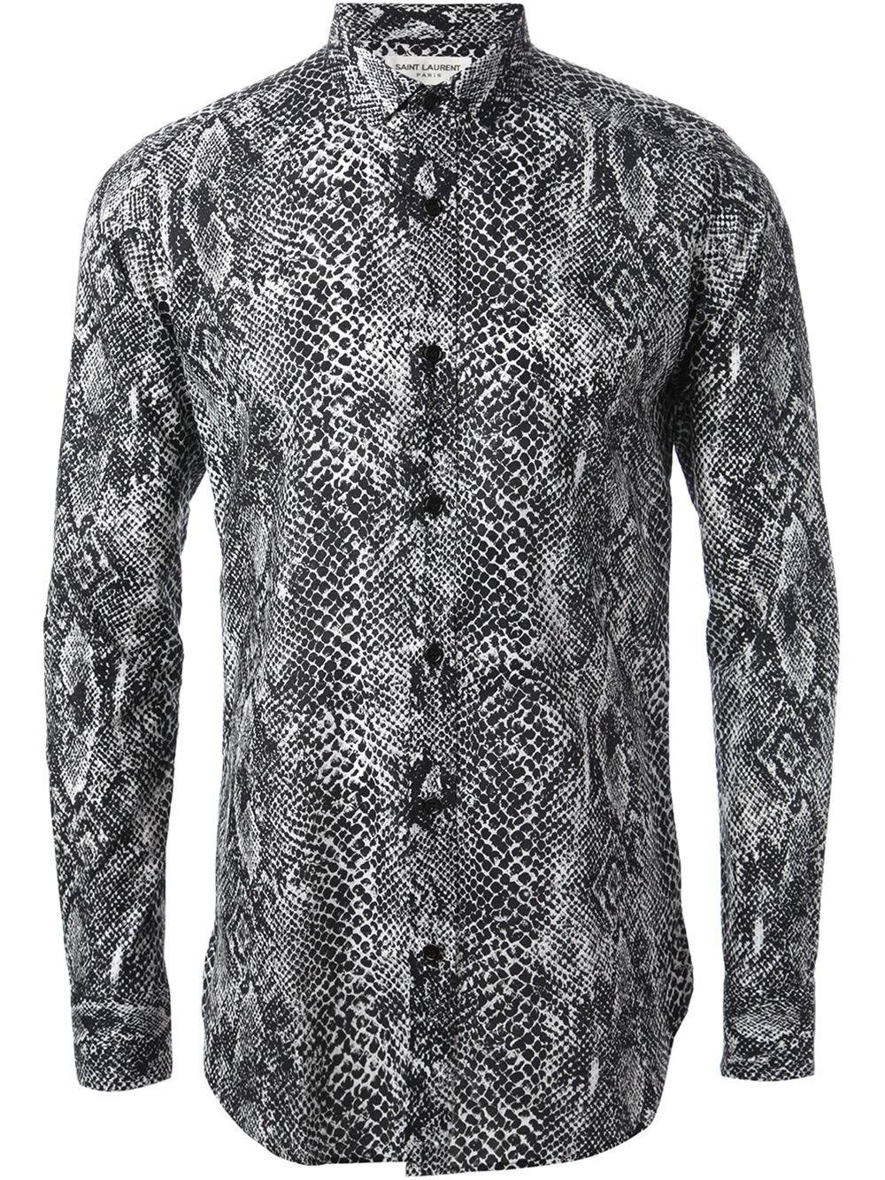 Saint Laurent Snakeskin Print Shirt in Black for Men