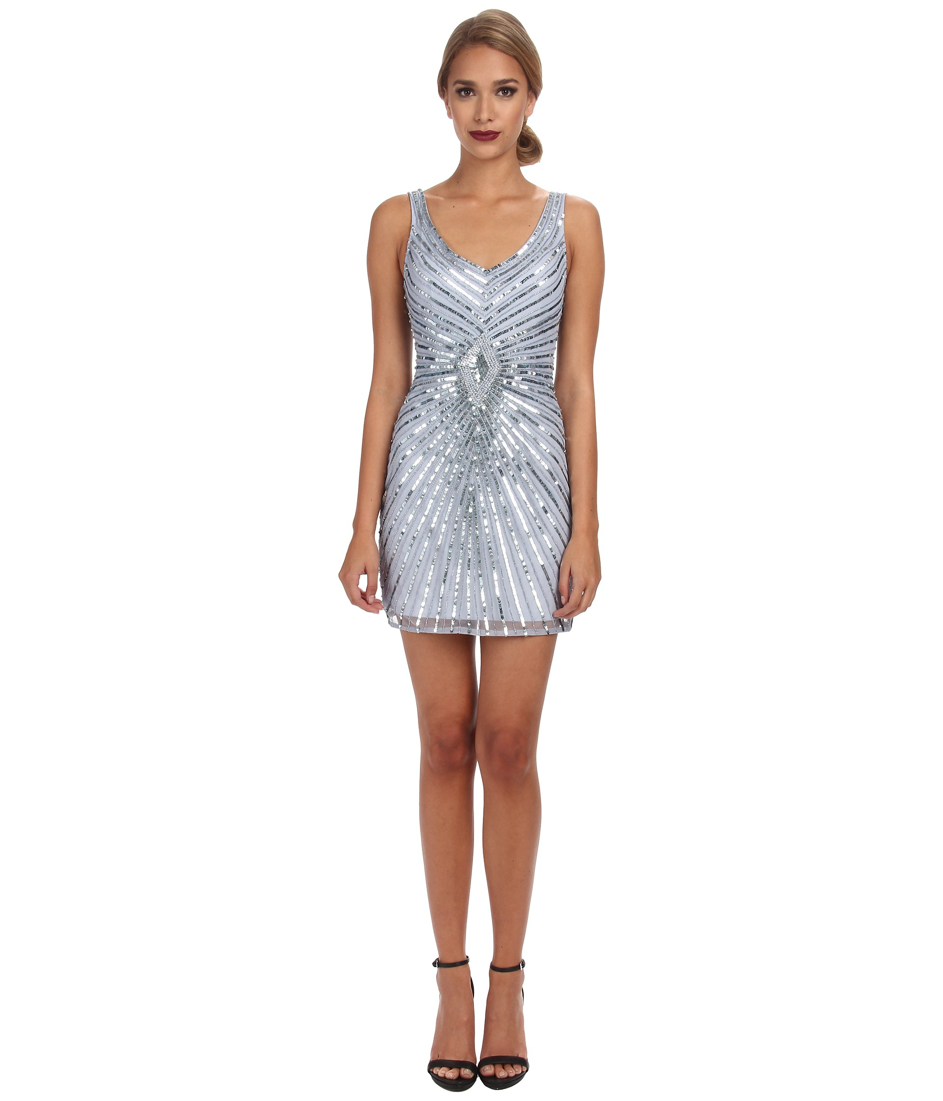 Aidan mattox Beaded Tank Dress With Diamond Motif in Blue | Lyst