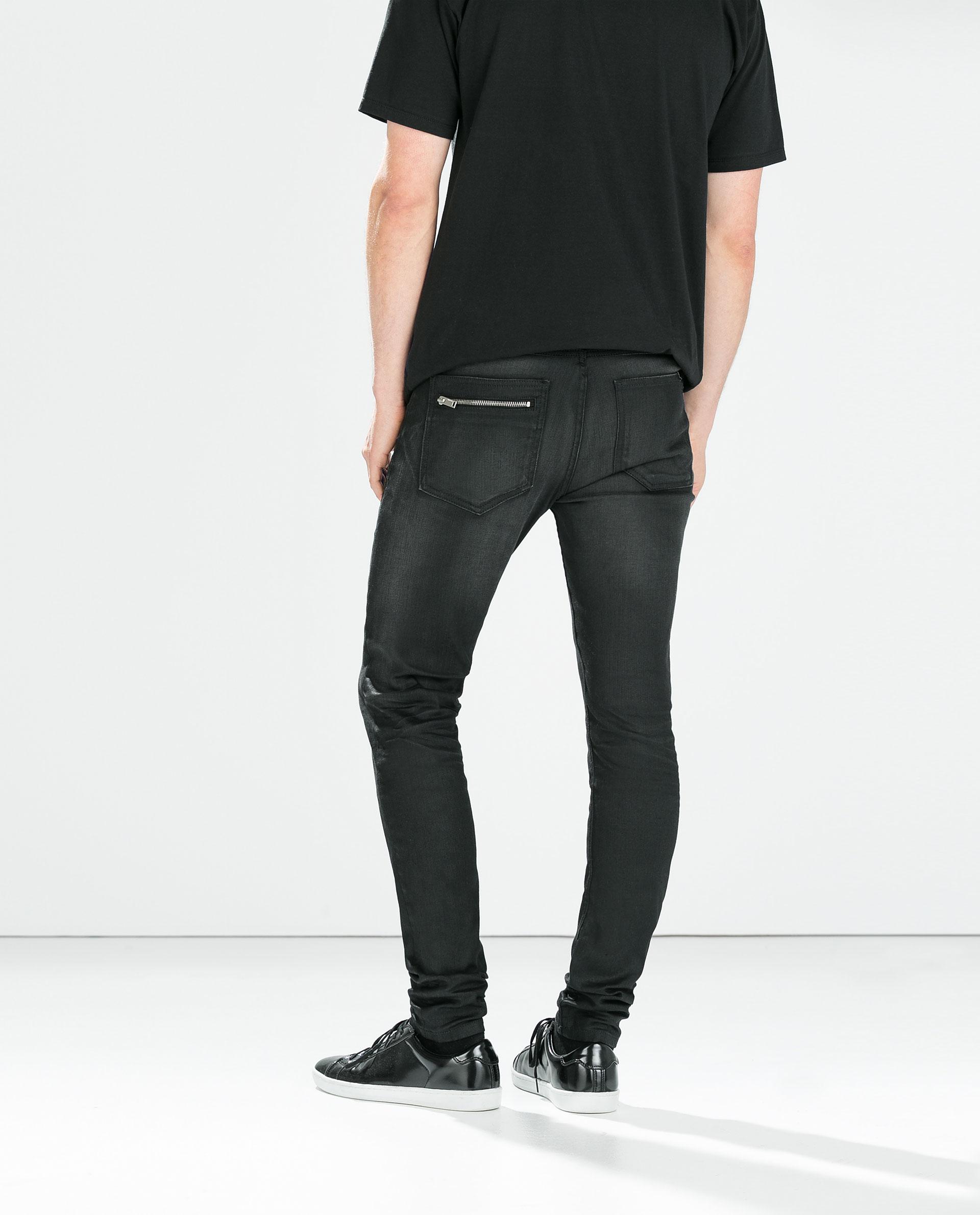 Zara Black Jeans with Zips in Black for Men | Lyst