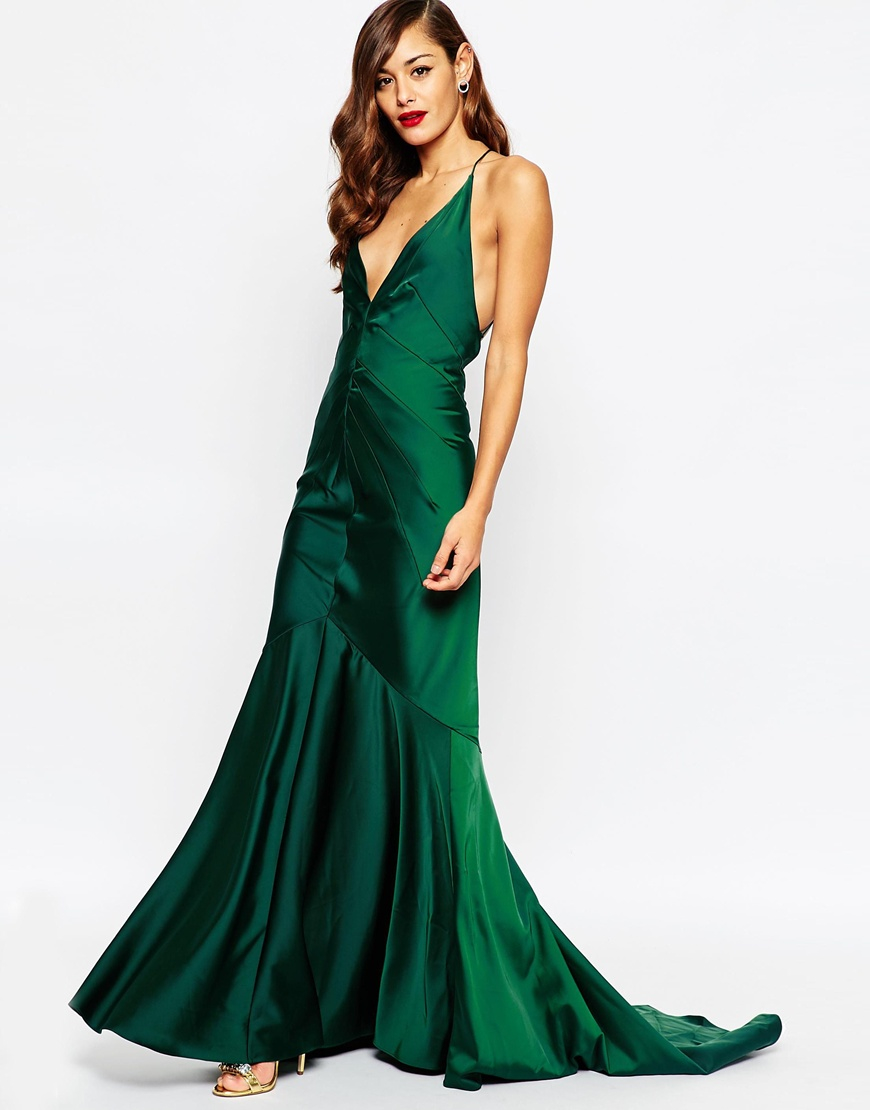 386ad2e309dc ASOS Red Carpet Deep Plunge Soft Fishtail Maxi Dress in Green - Lyst