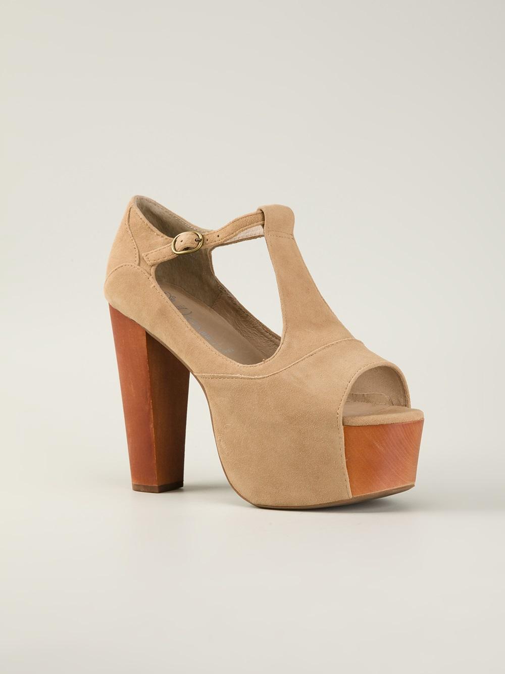 jeffrey cbell foxy wood platform sandals in beige