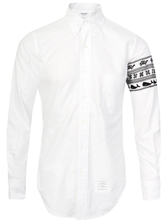 Thom browne turtles whales white oxford shirt in white for Thom browne white shirt