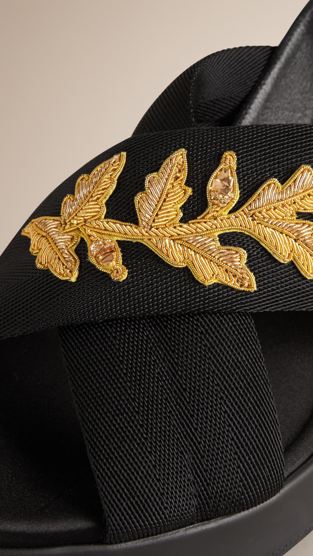 burberry sport goldwork embellished sport sandals in black