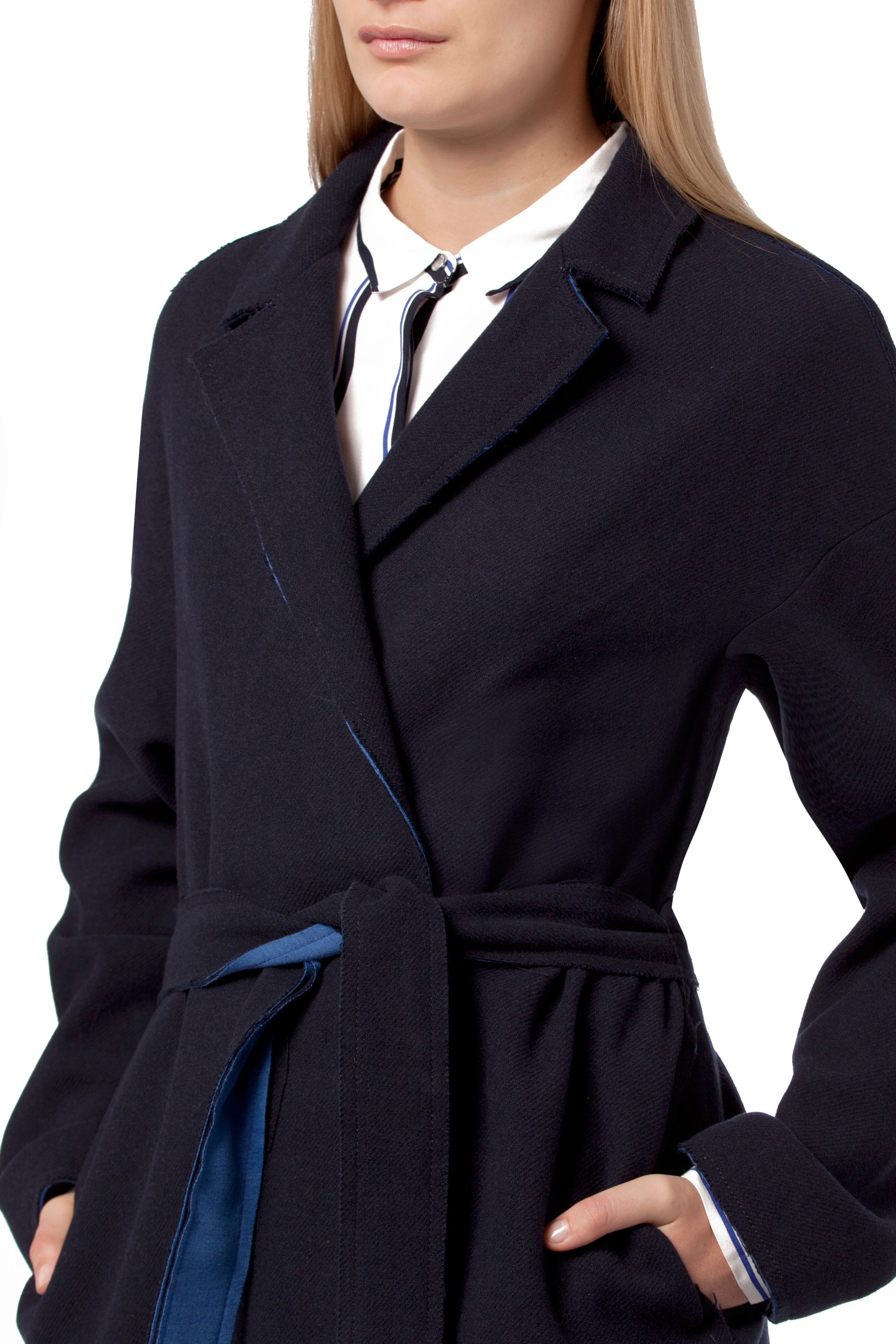 tommy hilfiger kadice wrap coat in blue lyst. Black Bedroom Furniture Sets. Home Design Ideas