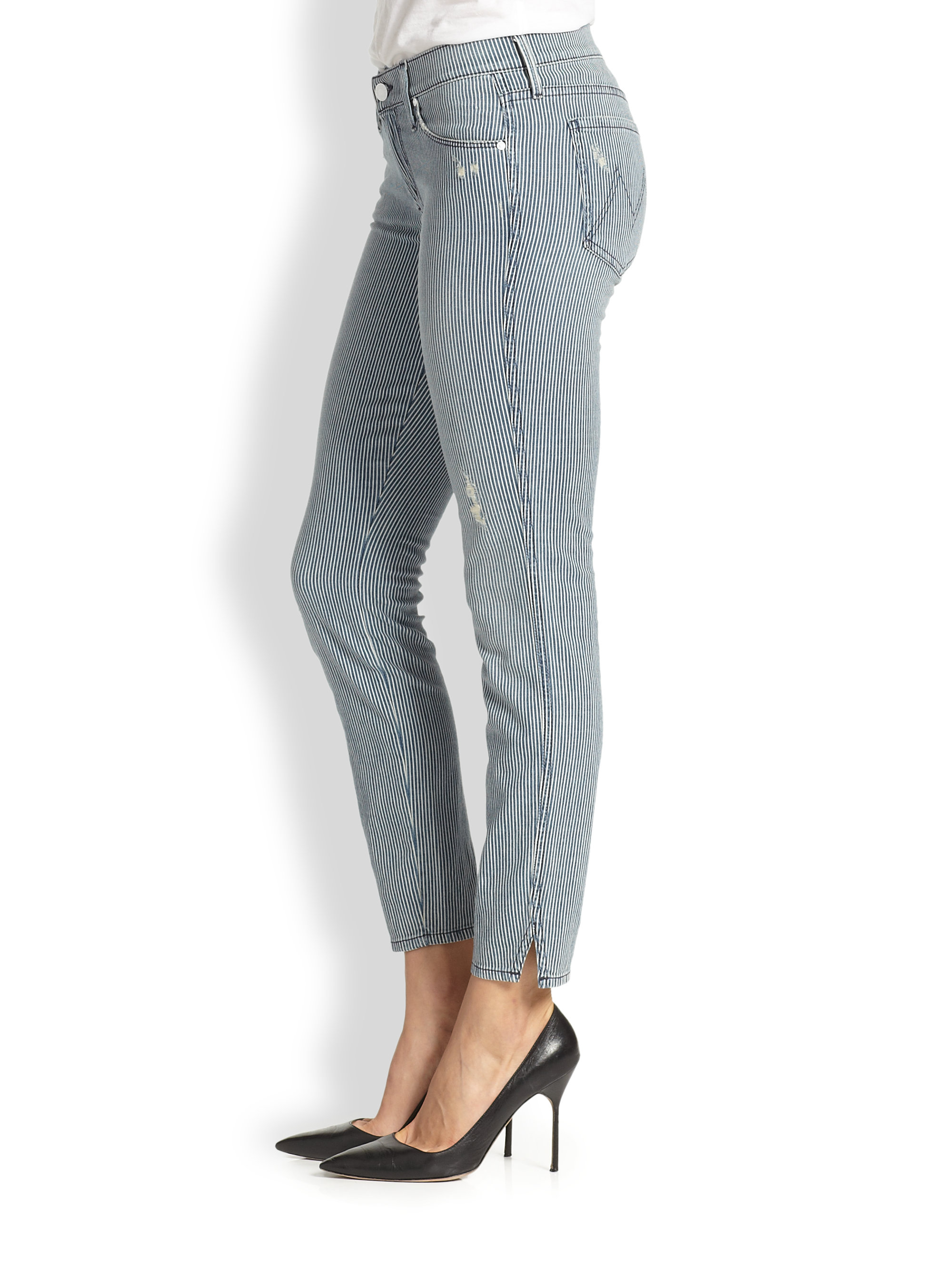 Mother The Vamp Distressed Striped Skinny Jeans in Gray | Lyst