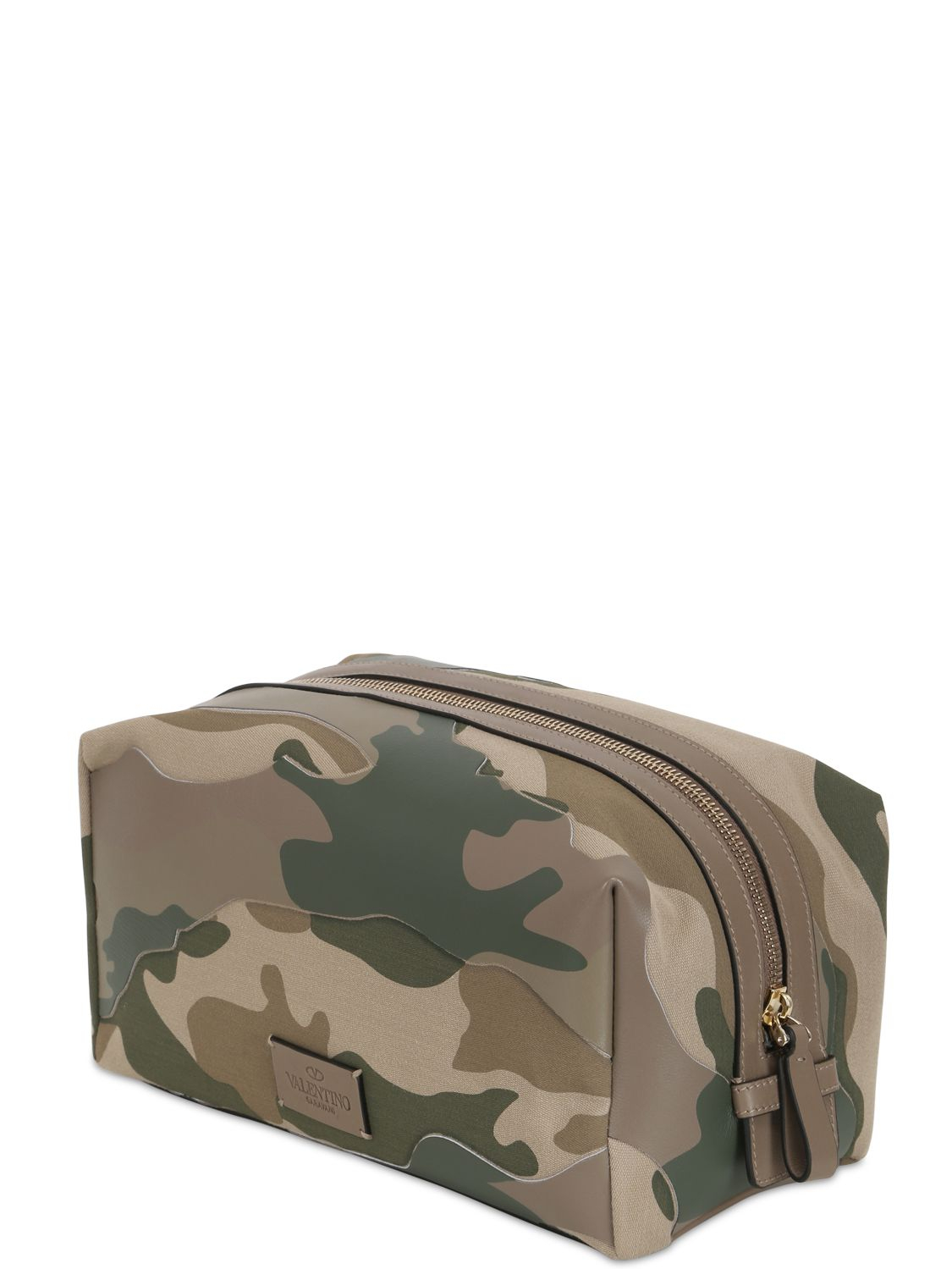 valentino camouflage nylon leather toiletry bag in green for men
