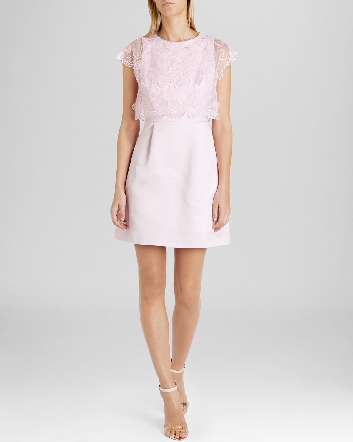 7716d6357a0fe0 Lyst - Ted Baker Dress - Dabria Floral Bodice in Pink