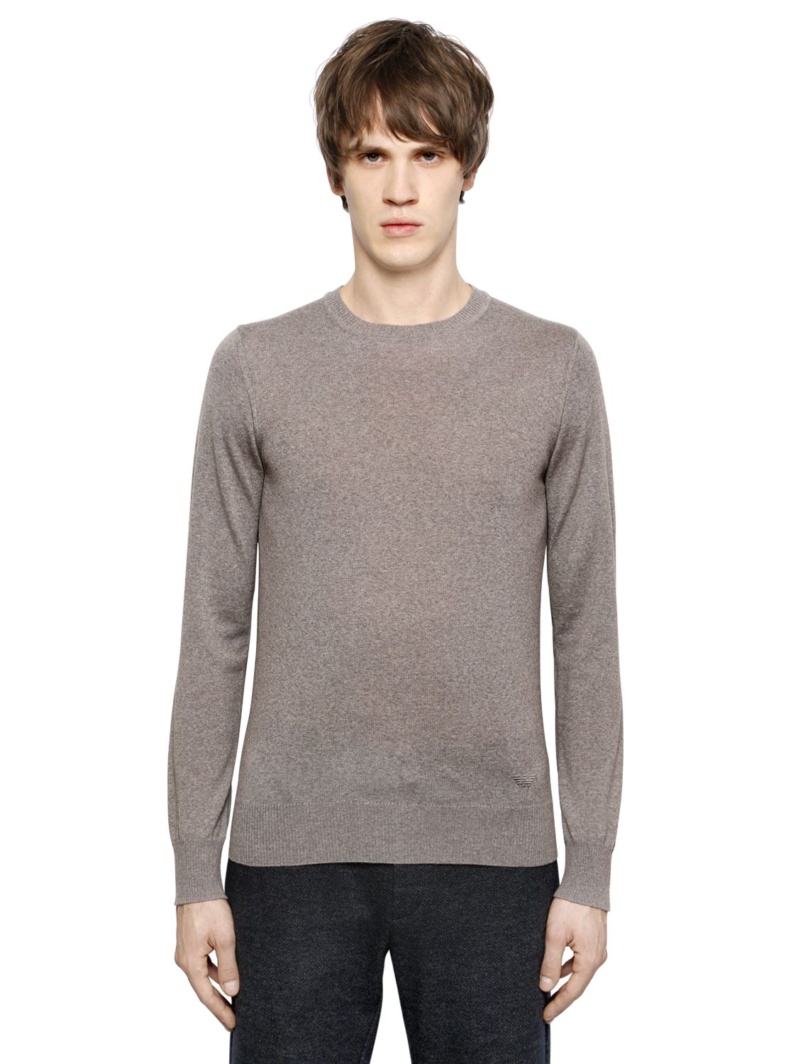 emporio armani virgin wool sweater in gray for men lyst. Black Bedroom Furniture Sets. Home Design Ideas